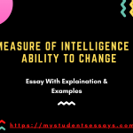 Essay on the Measure of Intelligence is the ability to Change