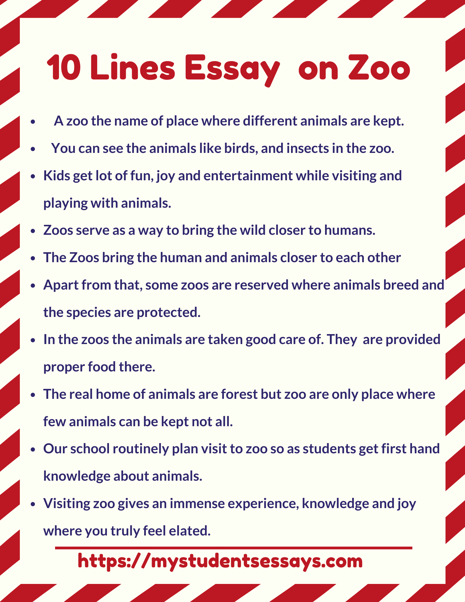 10 lines essay on zoo for students