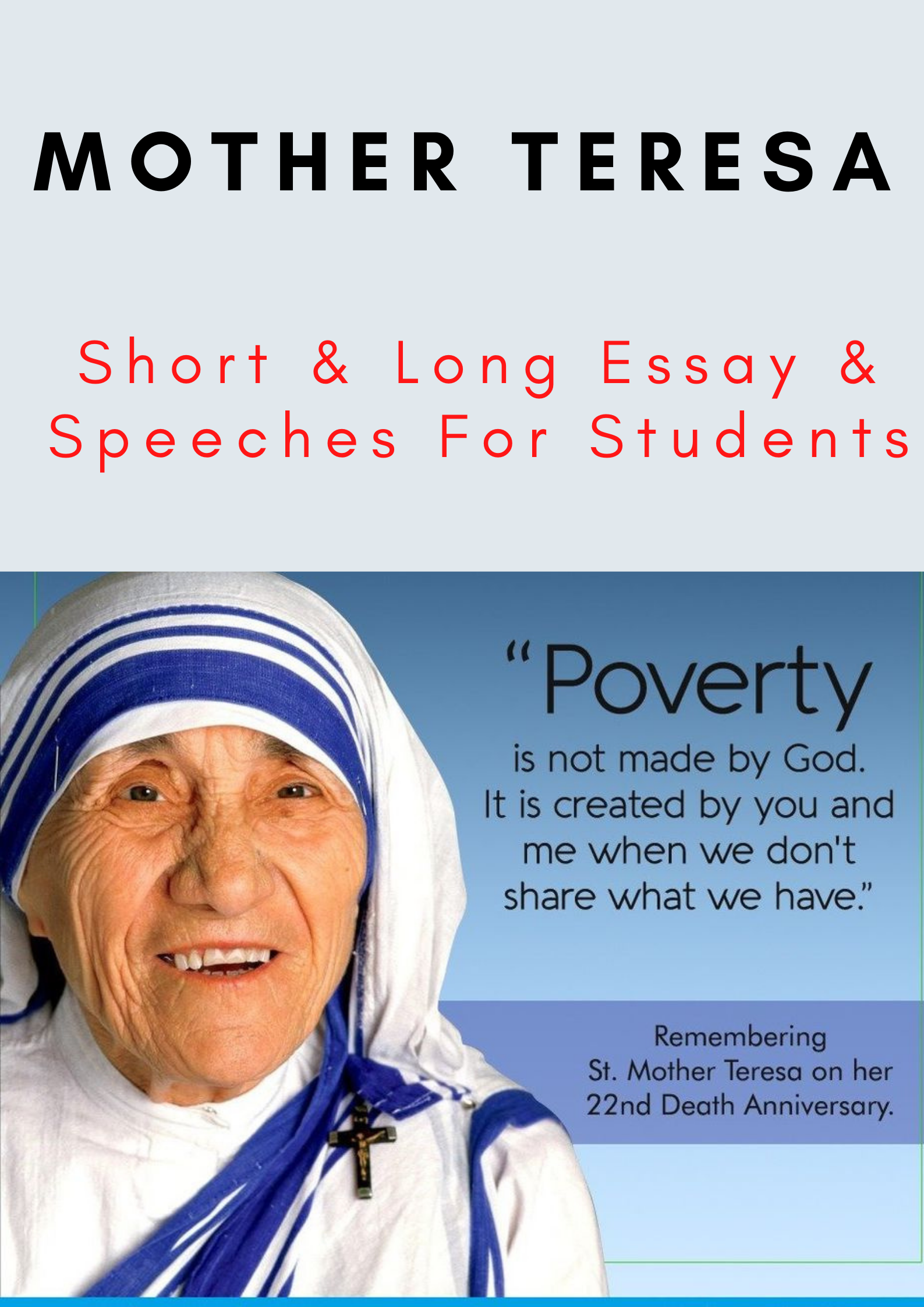 Essay on Mother Teresa for children and students