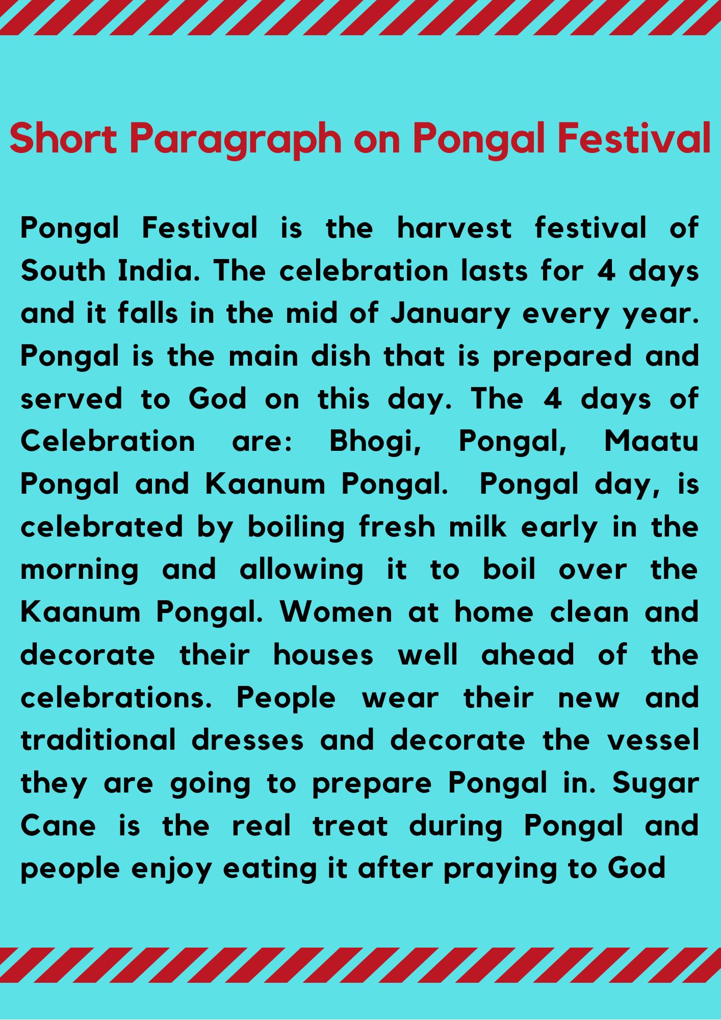 Short Paragraph on Pongal