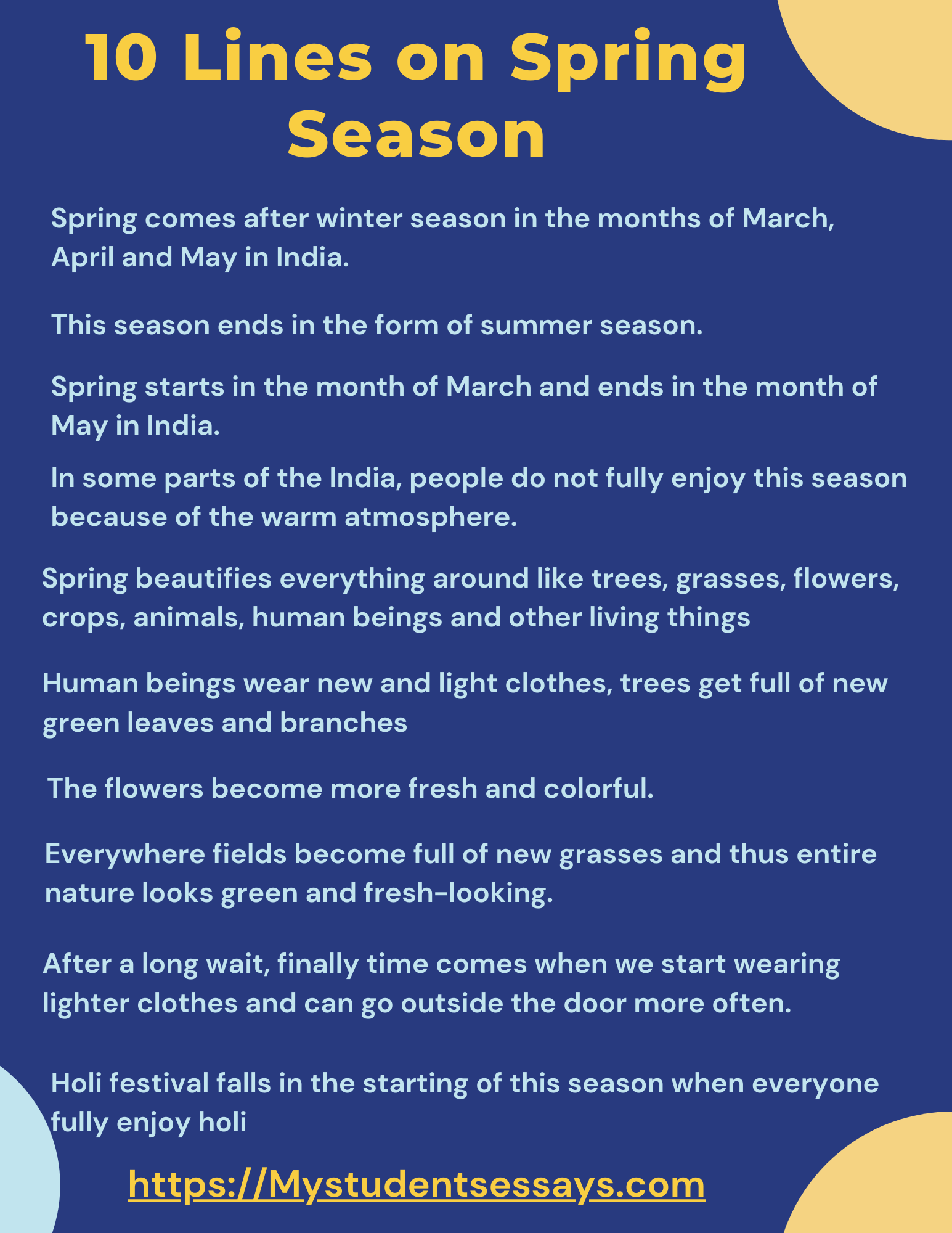 Spring Season Essay for students