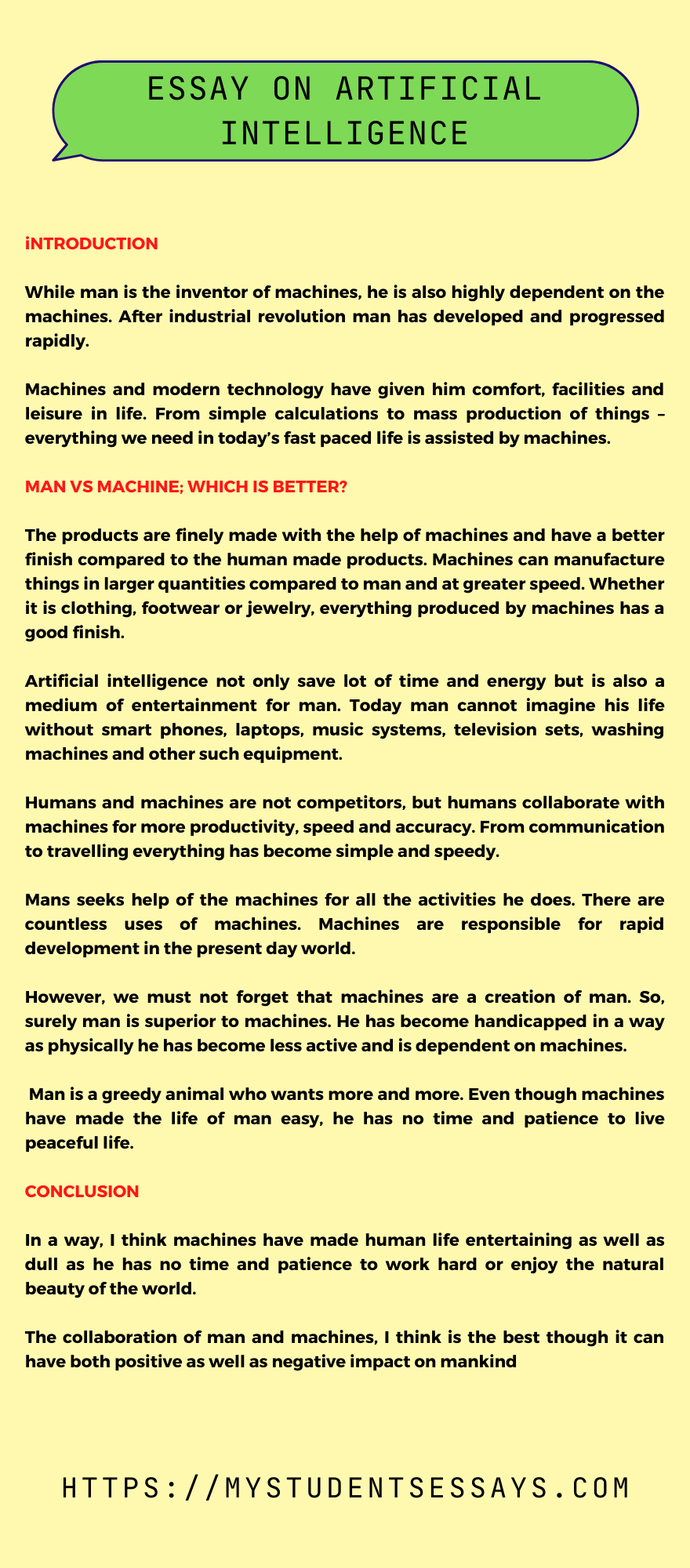 Essay on Artificial Intelligence For Students
