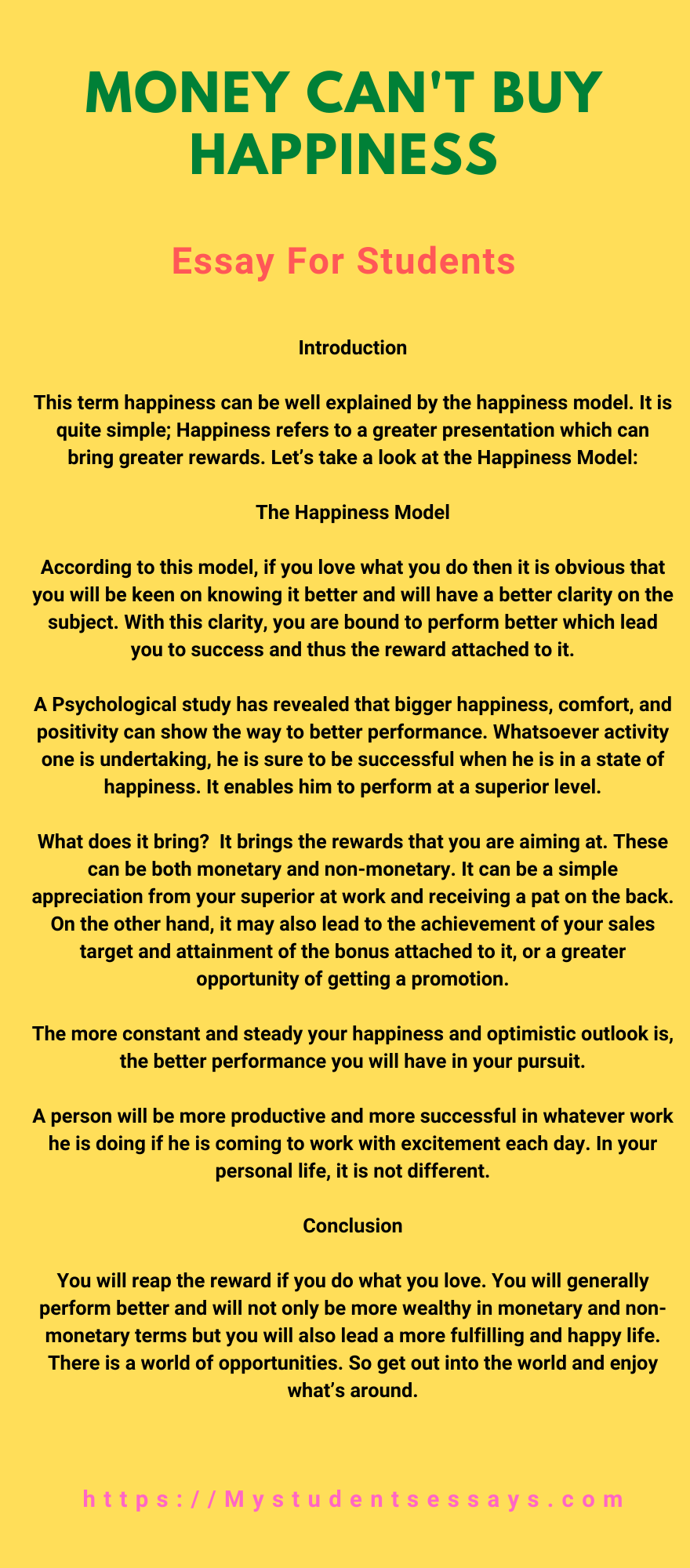 Essay on money can't buy happiness for students