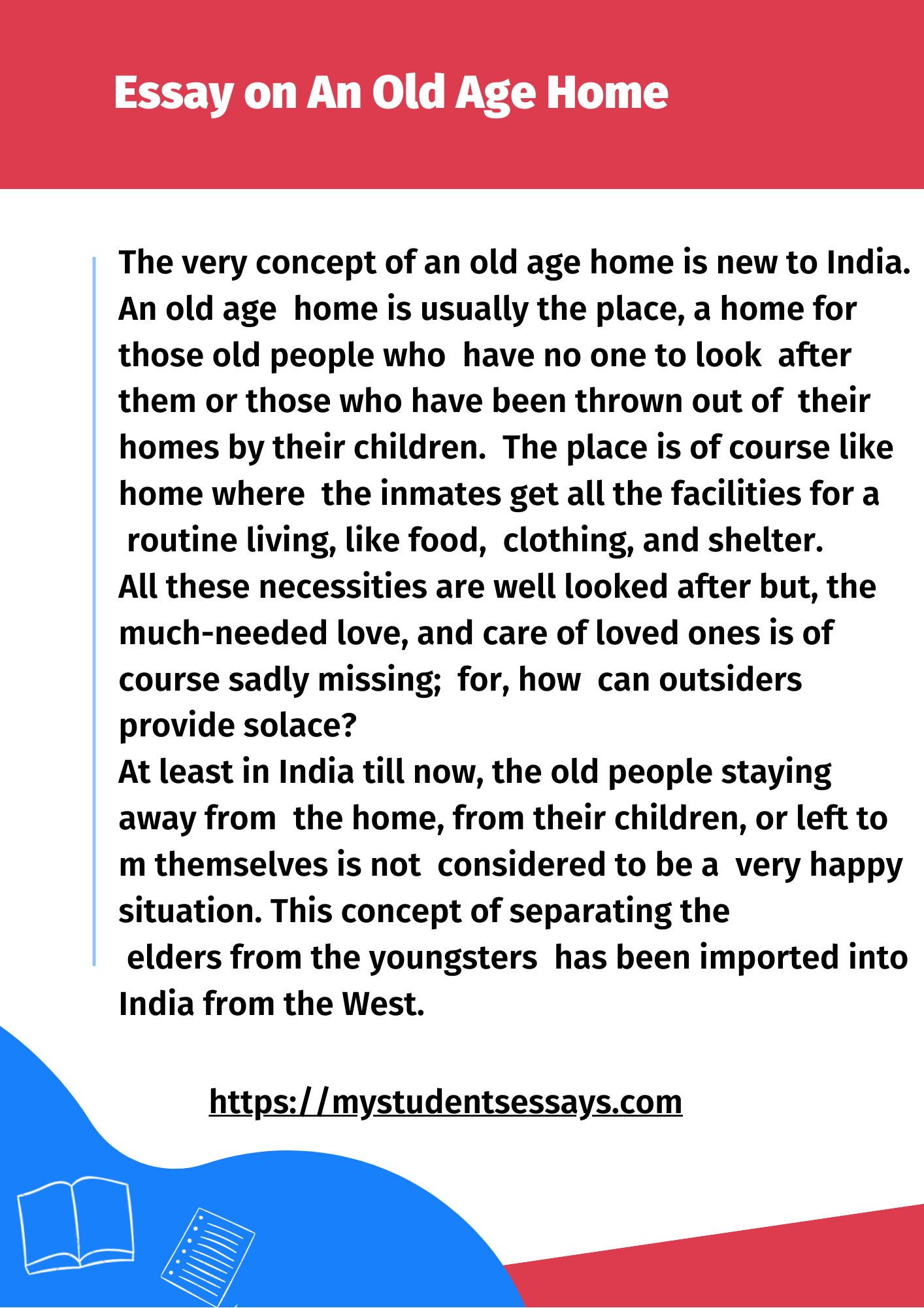 Old age home essay for students