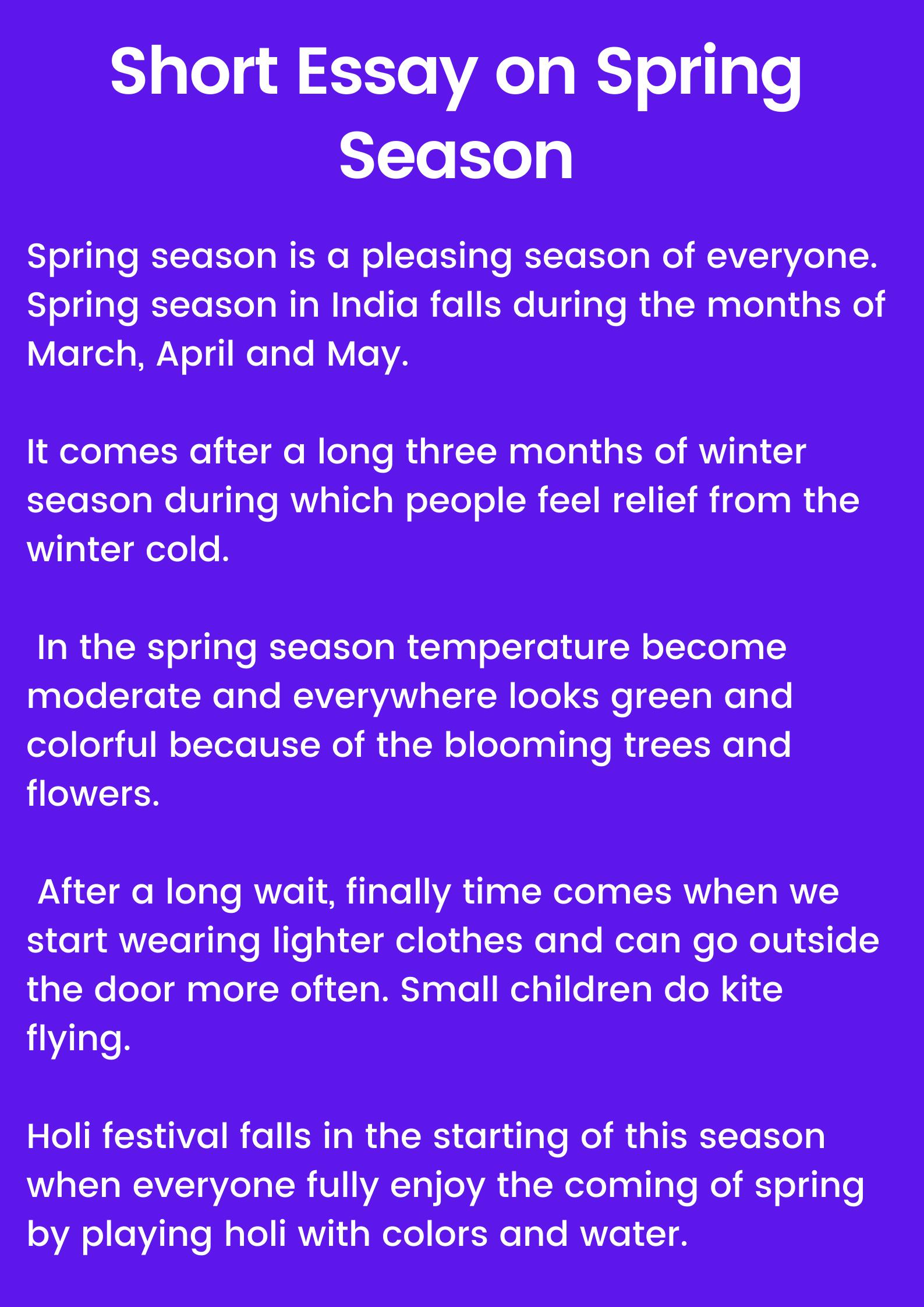 Short essay on spring season