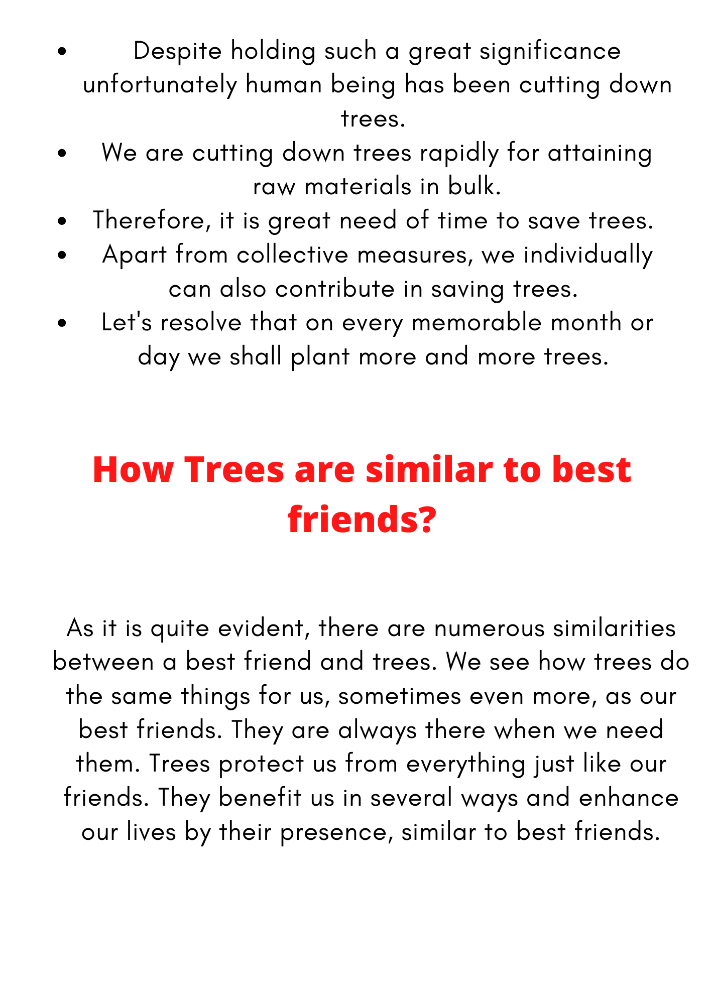 10 points on Trees are our best friends